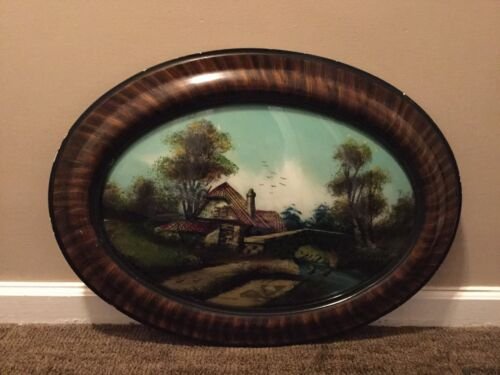 "Antique Oval Convex Glass Wood Frame 25"" x 19"" Country Print 'Tiger' Dome Frame."