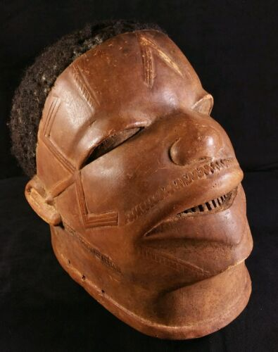 Antique African Makonde Lipico Helmet Mask Hand Carved Balsa w Human Hair EXC