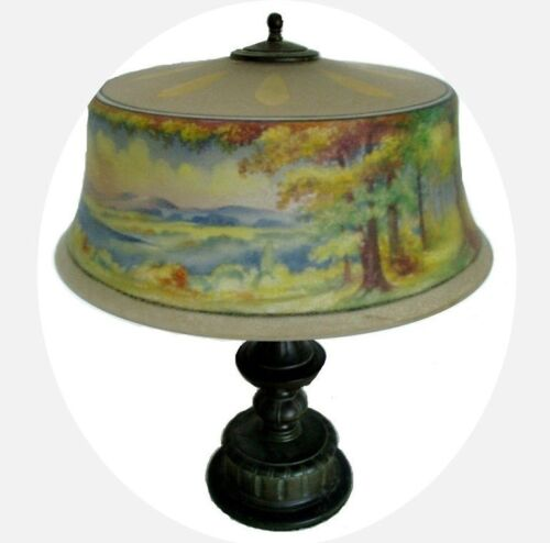 Pairpoint lamp - reverse painted shade - artist signed FREE SHIPPING