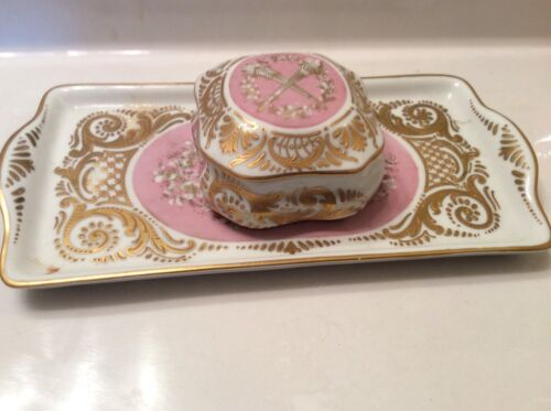Antique Sevres hand painted Gold Gilt Pink Jewelry Box W Vanity Tray porcelain