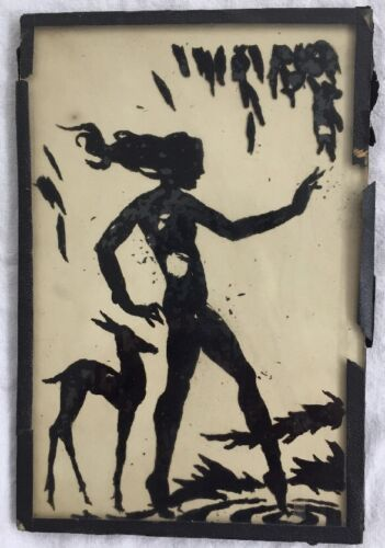 Vintage Silhouette Reverse Painting on Glass Spring Girl w/Deer Whitcomb Wiese