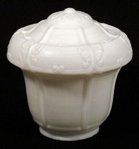1910s 20s Vintage SATIN MILK GLASS Globe Lamp Shade Fixture Art Deco Arts Crafts