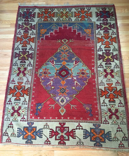 """Antique Turkish Kula Tribal Prayer Rug from the 1940s! """"Unique"""" Hard to Find!"""