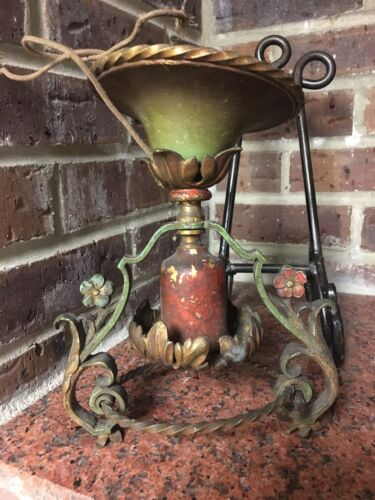 Antique Victorian Hanging Painted Cast Iron And Brass Light Fixture