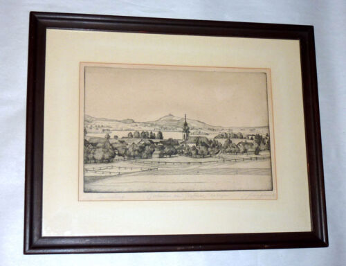 Antique 1900 Germany Etching STAFFELSEE OBERBAYERN Bavaria