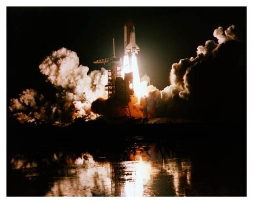 1983 Space Shuttle Challenger STS-8 First Night Launch Silver Halide Photo