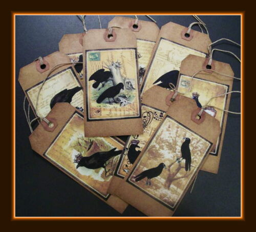 OLD PRIMITIVE CROWS - ANTIQUE DESIGNS - SET OF NINE DIFFERENT CROW HANG TAGS