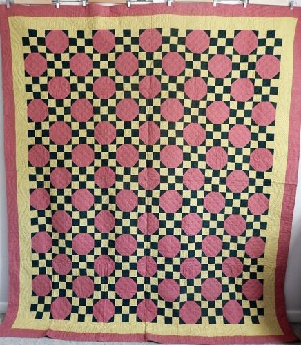 Vintage, Antique 1890's Snowball / 9 Patch Hand Quilted Quilt, Flagstones