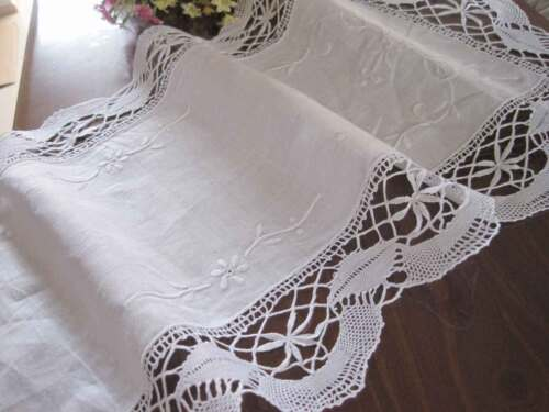 Gorgeous Wide Hand Bobbin Lace Embroidery Hemstitch White Cotton Table Runner