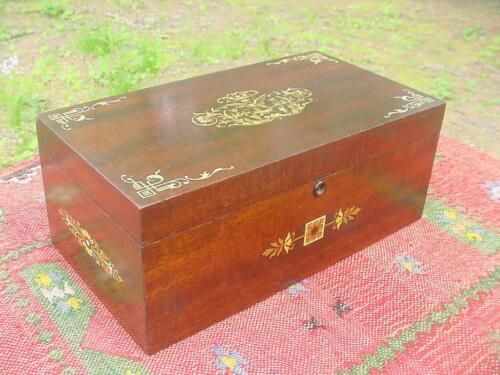 Antique Mahogany Aesthetic Movement Locking Jewelry Box with Key ~Glowing Patina