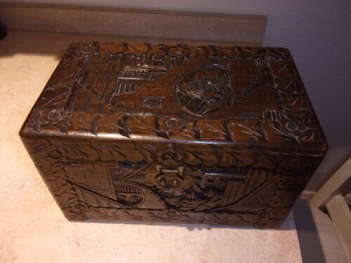 RARE LARGE ANTIQUE ASIAN CARVED WOOD BOX CHEST HINGED