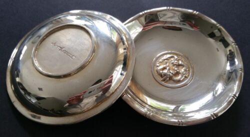 RARE PAIR CHINESE STERLING SILVER DRAGON DISHES GREAT GIFT
