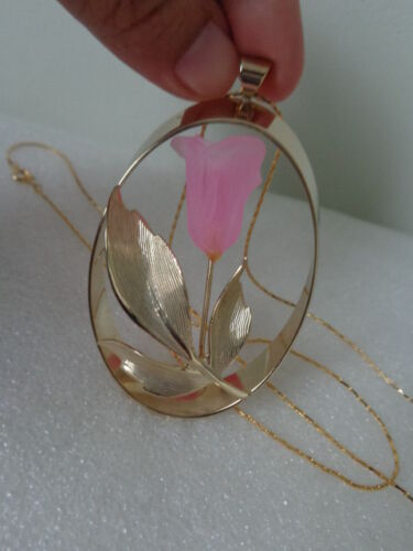 Vintage ROSE Flower Cut BavarianCrystal Pendant Necklace Jewelry 1980 Collection