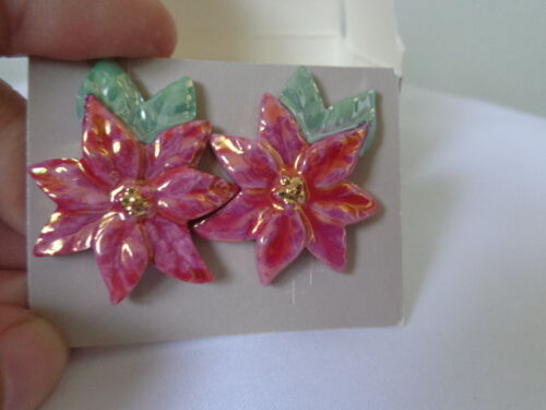 US AVON Vintage Porcelain Poinsettia Christmas  Earrings Jewelry Collection 1992