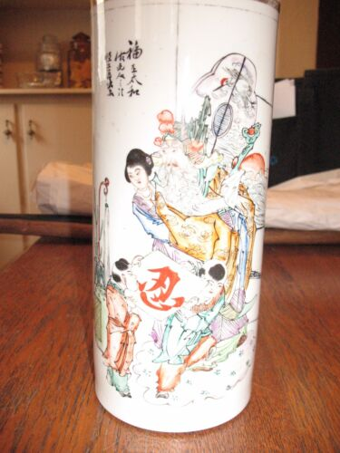RARE ANTIQUE CHINESE REPUBLIC PERIOD PORCELAIN CYLINDER VASE
