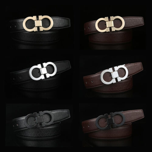 New High Quality Men Leather Belt Vintage Smooth Buckle Casual Waist Belts