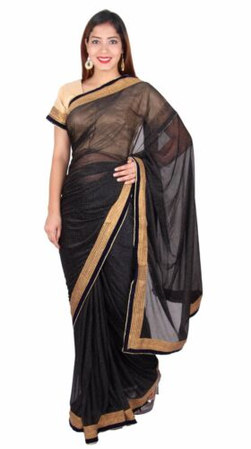Indian shimmer Saree ready made blouse Bollywood party South Asian Outfit 7271