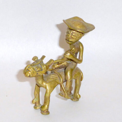 """Vintage 3 1/2"""" Bronze Primitive Sculpture of Peasant Hunting with Native Horse"""