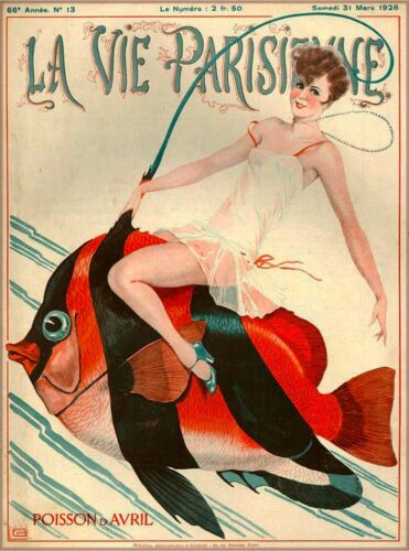 1928 La Vie Parisienne Girl Fish French France Travel Advertisement Poster Print