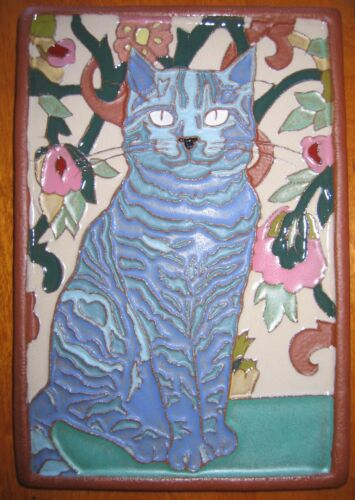 Gift Art Deco Arts and Crafts blue Siamese CAT tile Cat Lovers