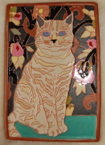 Gift Art Deco Arts and Crafts Cream white CAT tile Cat Lovers