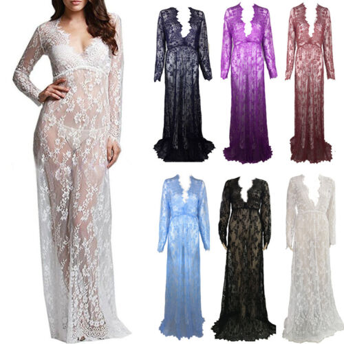 Lace Sheer Maternity Maxi Dress Gown Photography Prop Pregnancy Photo Shoot Plus