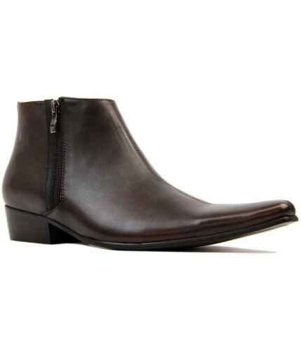 NEW MOD RETRO 60S MENS CHISEL TOE DOUBLE ZIP CHELSEA BOOTS BROWN LEATHER THUNDER