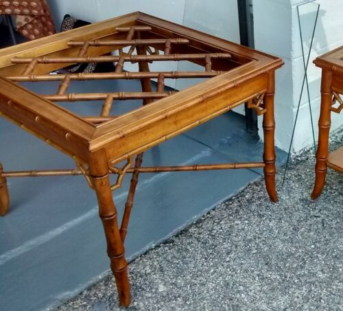 Hollywood Regency Chinese Chippendale End Table Faux Bamboo Allegro Thomasville
