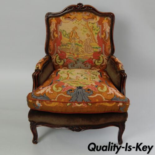 Antique French Louis XV Style Figural Needlepoint Arm Chair Bergere Carved Wood
