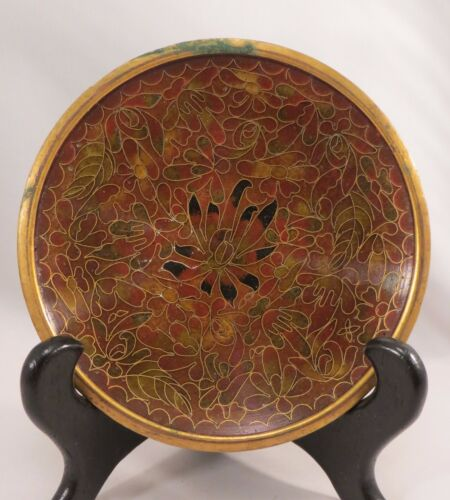 Vintage Chinese Red Cloisonne Dish Saucer Plate Enamel Flowers China 4""