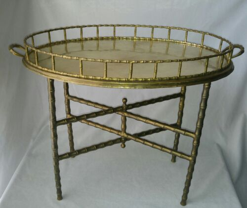 Holywood Regency Style Brass Faux Bamboo Folding Tray Table