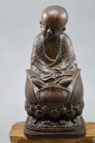 Antique agalloch eaglewood wood hand-carved Chinese statue Buddha
