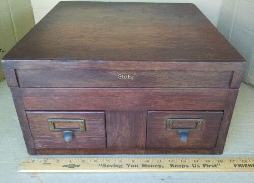 ANTIQUE GLOBE 2-DRAWER OAK W/PANELS CARD FILE STACK W/TOP SECTION 1900'S