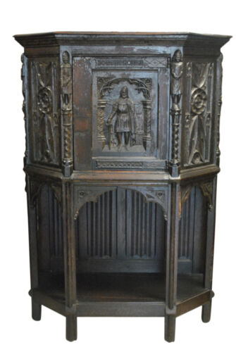 """Antique Hand Carved Oak French Gothic Cupboard Cabinet 59""""H x 42""""W, Ca 1860"""
