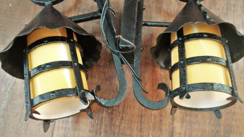 2 Antique ARTS+CRAFTS Mission Craftsman WROUGHT IRON Exterior Lamps Lights PAIR