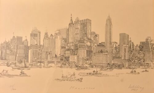 1967 Richard Welling Professional Famous Framed Drawing Sketch NYC Skyline