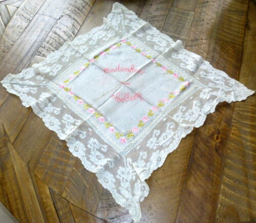 """WWI Hand Embroidered 17"""" Silk & Lace Souvenir Handkerchief Coblenz Germany"""