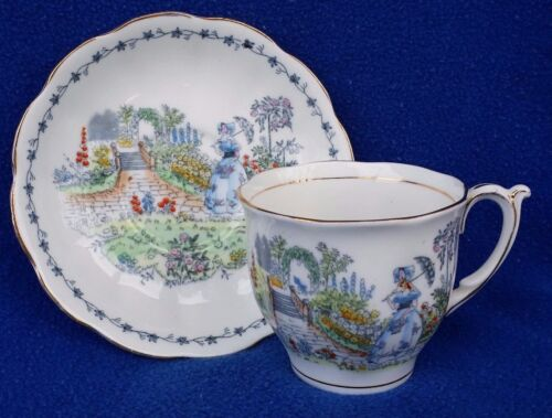 VINTAGE BELL CHINA TEACUP & SAUCER MADE IN ENGLAND BLUE GREEN RED EXCELLENT
