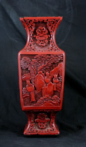 "Antique Chinese Cinnabar Lacquer Vase Hand Carved Figures 19th Century 12"" Qing"