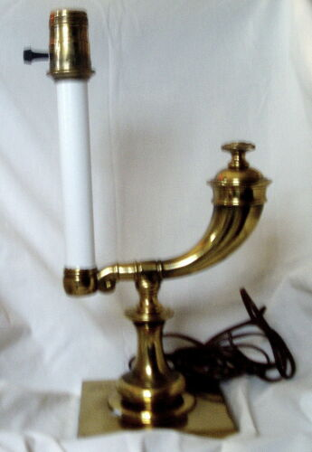 Vintage Brass Old Oil Burning Type Electric Table Lamp Stiffel Working