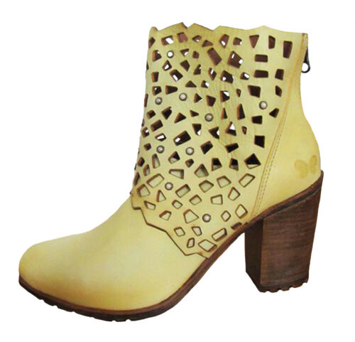 Felmini NEW A027 Iris laser cut mustard yellow genuine leather ankle boots 3-8