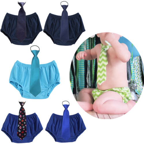 Toddler Baby Kid Boy 1st Birthday Cake Smash Outfit Short Pants Bloomers Necktie