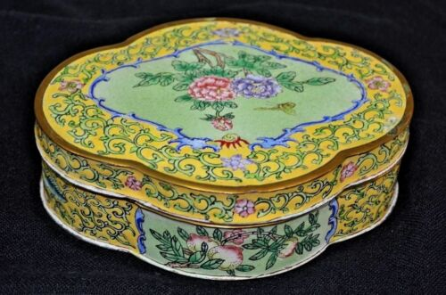 "Gorgeous Vintage Chinese Canton enamel large box 6.5 by 5 ""peaches,grapes,peony"