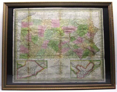 S. Augustus Mitchell 1842 Tourist's Pocket Map of Pennsylvania (Framed)