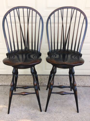 WINDSOR PAIR BOW BACK SIDE SWIVEL BAR STOOLS WITH BRACES CREATED BY DENNIS BORK