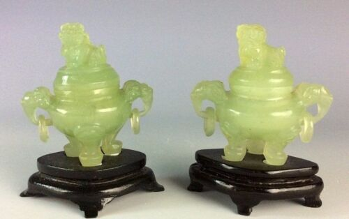 Pair of Chinese green Jade censer with cover