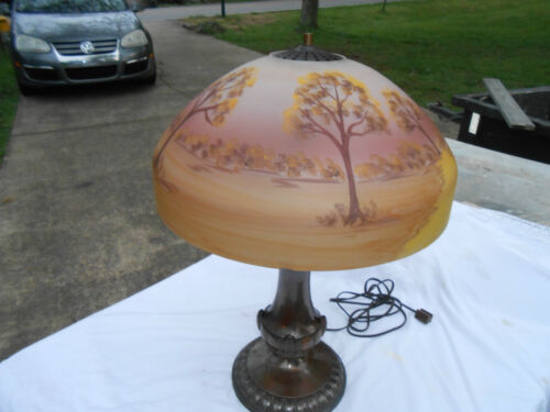 Antique Bronze Reversed Painted Table Lamp Jeanette? Pairpoint? Dome Shade