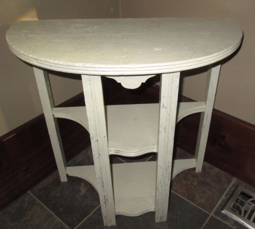 Vintage Antique Half Moon Wood Side End Table painted chic shabby white shelves