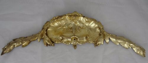 "17.5"" Antique Large French Gilded Bronze Furniture Pediment Decoration"