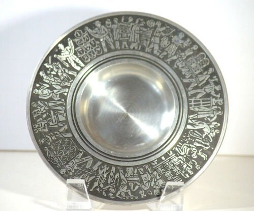 ArtDeco Germany Pewter Relief Plate Decorative Plate Dish Ashtray EW REGENSBURG